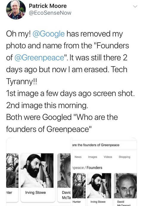 patrick moore tweet erased from greenpeace founders google