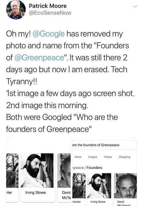 patrick moore tweet erased from greenpeace founders google