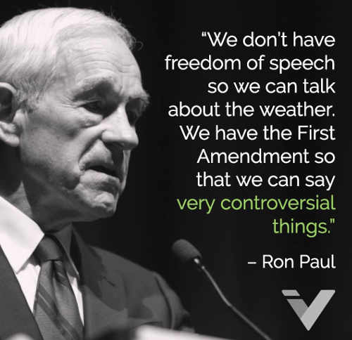 ron paul we have free speech so we can say controversial things