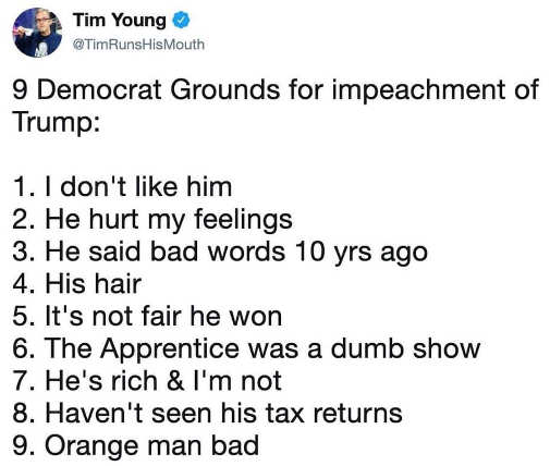 tweet 9 democrat grounds for impeachment orange man bad