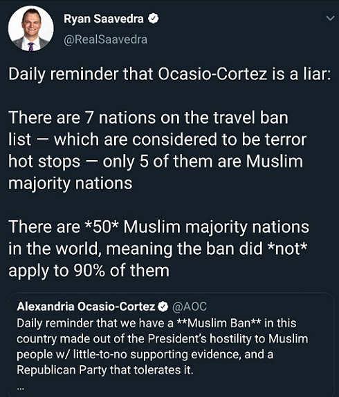 tweet daily reminder ocasio cortez is liar ban muslim nations