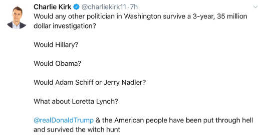 tweet kirk who could survive this big of investigation obama hillary schiff lynch