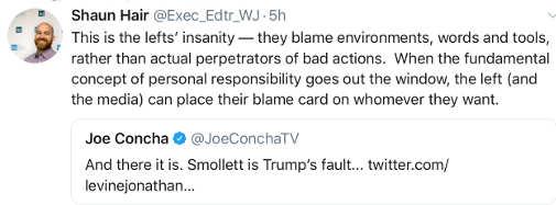 tweet new left insanity blame trump for jussie smollett faking hate crime