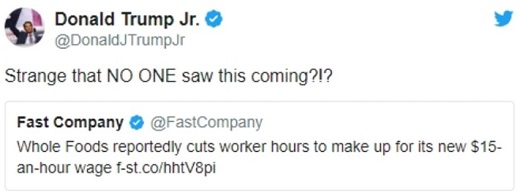 tweet strange no one saw this coming 15 minimum wage job cuts donald trump jr