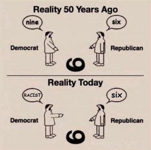 6 vs 9 democrat republican years ago today racist