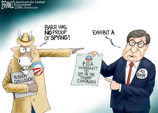 barr has no proof of spying exhibit a fisa warrant to spy on trump campaign