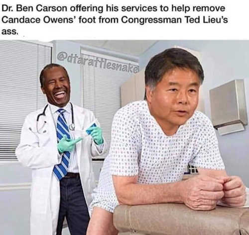 ben carson removing candace owens foot from ted lieus ass