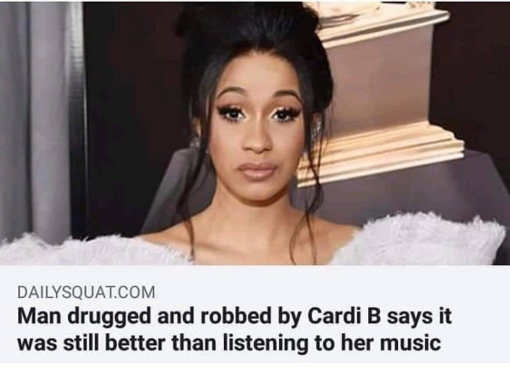 cardi b victim says being drugged and robbed still better than listening to her music