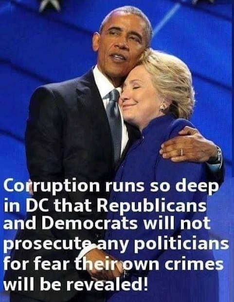corruption runs so deep in dc republicans and democrats wont prosecute for fear own crimes will be revealed