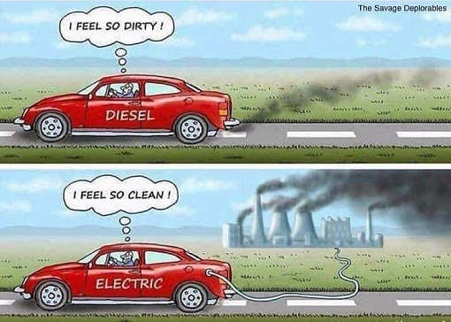 gas vs electric car feel dirty feel clean