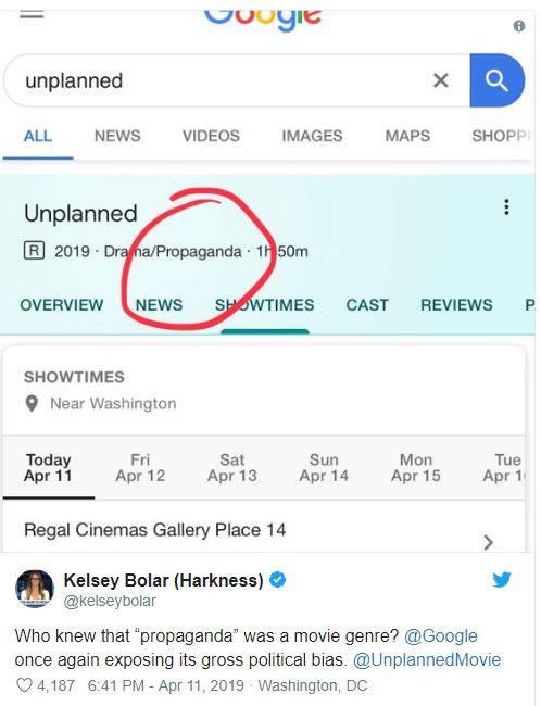 google search unplanned movie