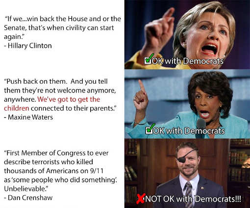hillary clinton civility maxine waters go after them crenshaw omar words not ok with democrats
