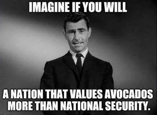 imagine if you will country cares more about avocados than national security