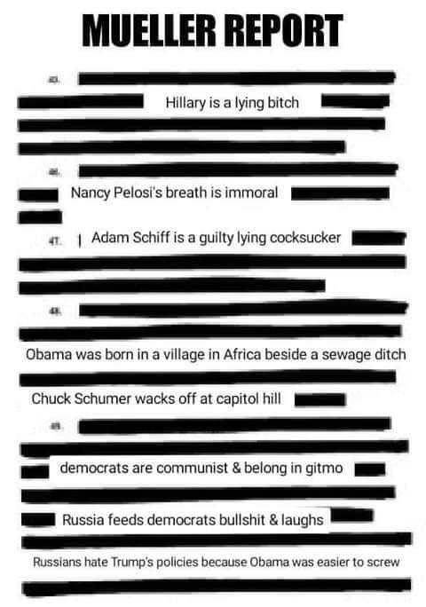 mueller report redacted democrats guilty