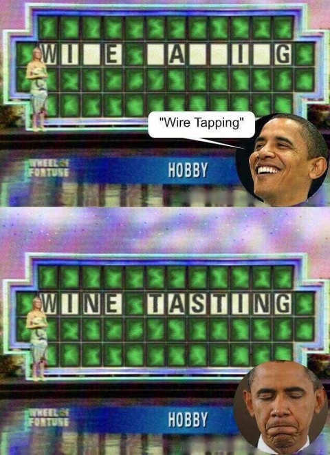 obama wheel of fortune wire tapping wine tasting hobby