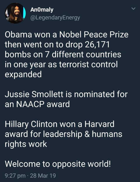 obama won nobel peace smollett naacp hillary clinton leaderswhip welcome to parallel universe