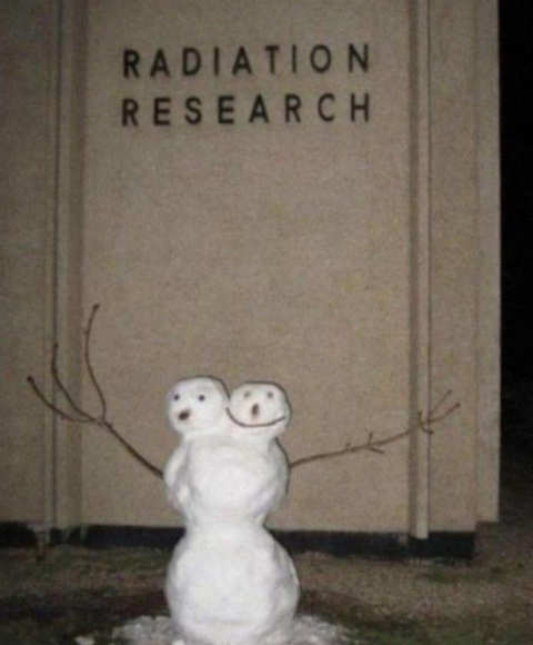 radiation research two headed snowman