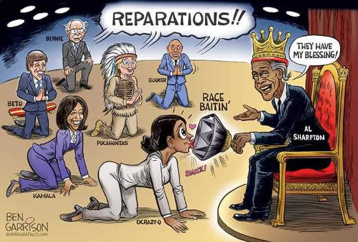 slavery reparations democrats kissing race baiting ring of al sharpton kamala booker beto