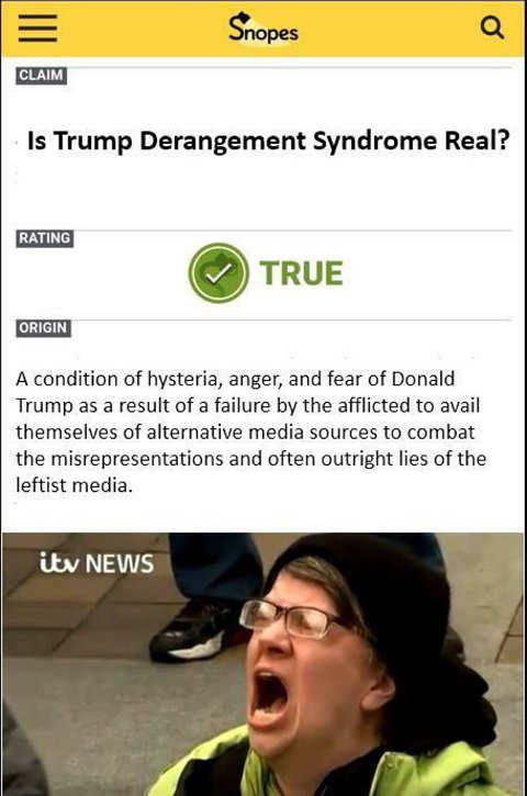 snopes is trump derangement snydrome real true