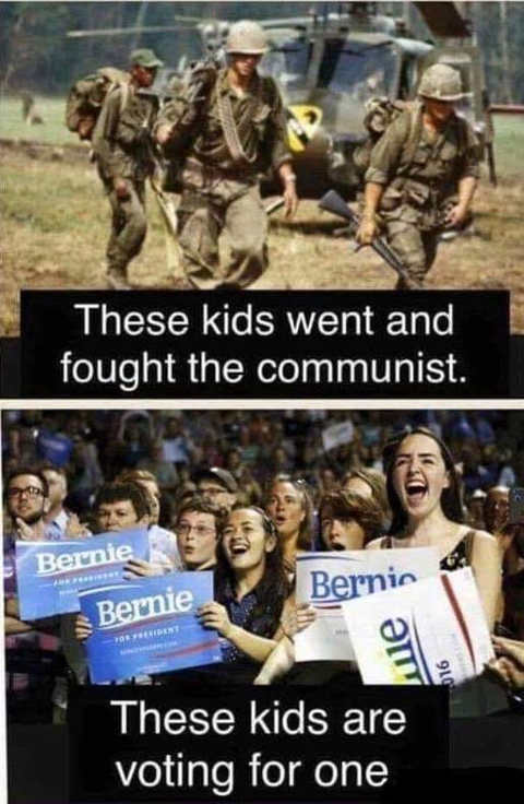 these kids fought communists these voting for one berne sanders