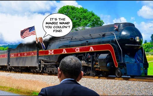 trump train flag its magic wand obama couldnt find maga