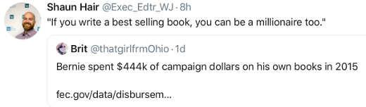 tweet bernie sanders if you write best selling book millionaire campaign bought half