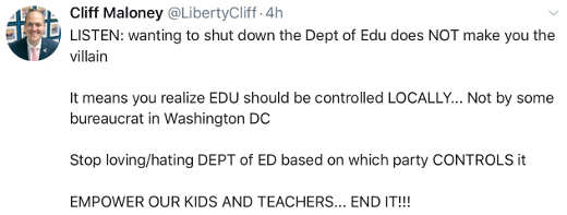 tweet cliff maloney wanting to shut down dept of education is because should be local