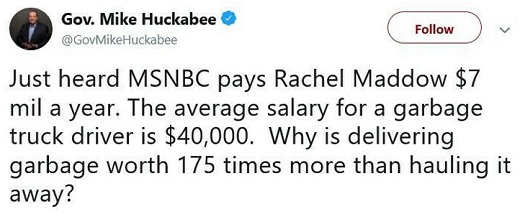 tweet mike huckabee rachel maddow 7 million per year