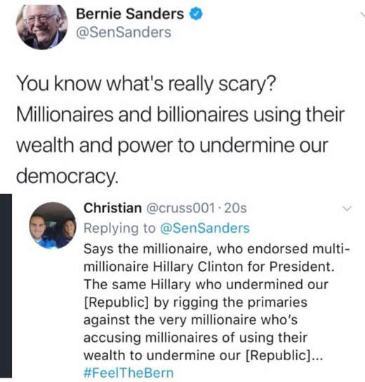 tweet sanders millionaires undermining our democracy rigging elections hillary