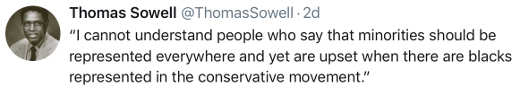 tweet sowell cannot understand blacks want representation but not conservatives