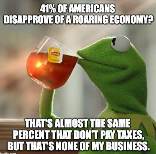 41 percent of americans disapprove of roaring economy almost same percent dont pay taxes kermit