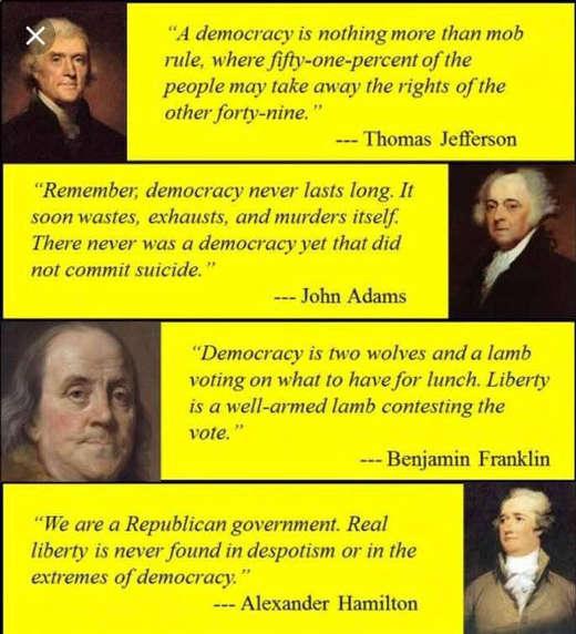 democracy quotes jefferson franklin hamilton adams