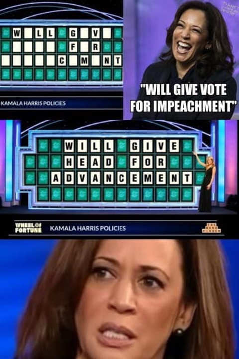 kamala harris wheel of fortune will give head for advancement