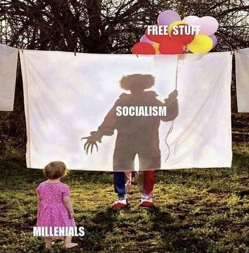 millenials free stuff balloons socialism killer clown hidden