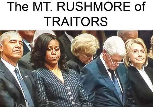mount rushmore of traitors michelle barack obama hillary bill clinton