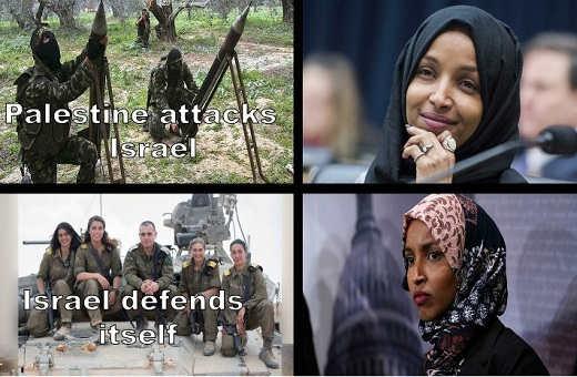palestine attacks israel omar all smiles israel defends itself frown