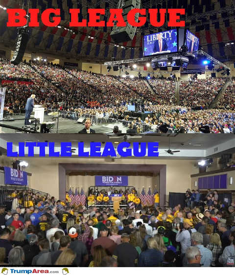 trump vs biden crowd size big league vs little league