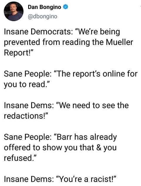 tweet bongino insane democrats wont read full or redacted mueller report