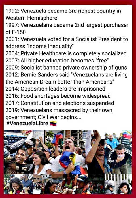 venezuela transition from 3rd richest country to socialism civil war