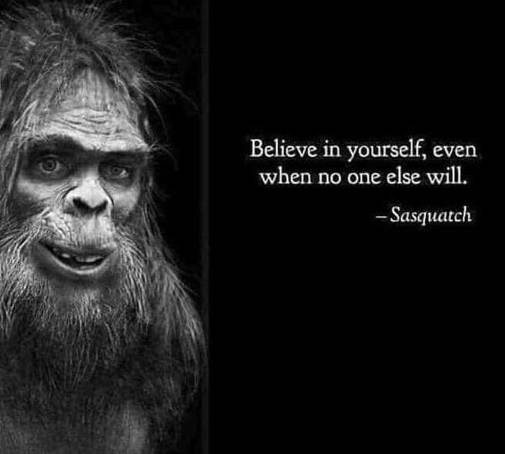 believe in yourself even if no one else will sasquatch