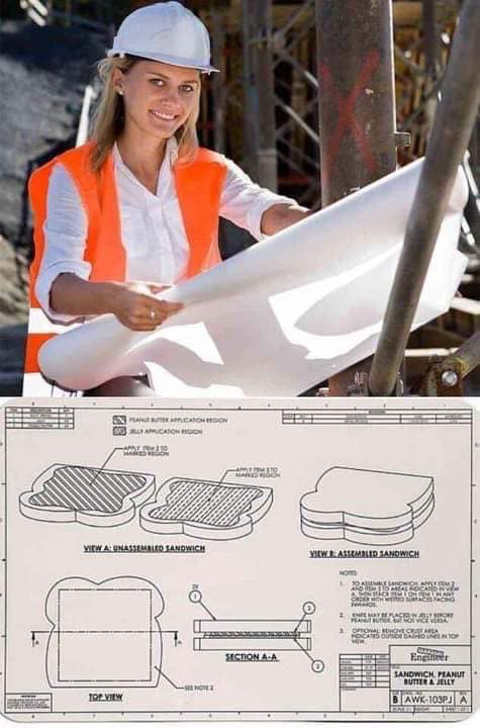 construction plans woman making sandwich