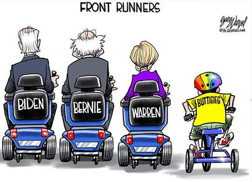 front runners biden bernie warren scooters tricycle buttigieg