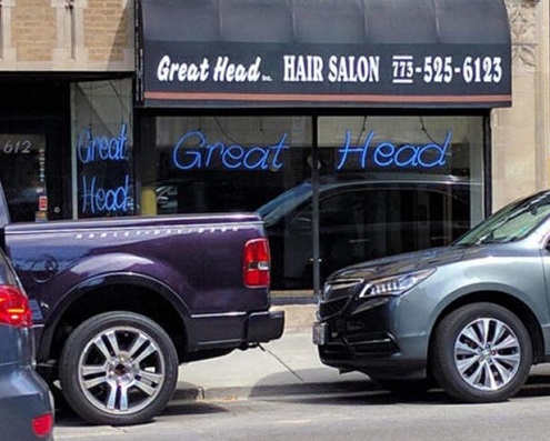 great head hair salon sign