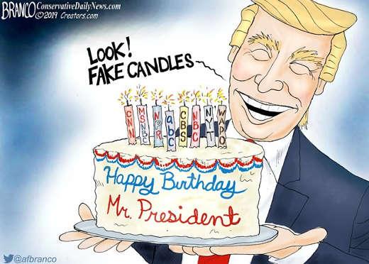 happy birthday president trump look fake candles cnn nbc abc msnbc nyt post