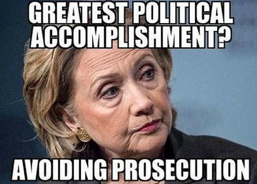 hillary clinton greatest political accomplishment avoiding prosecution