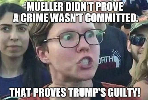 mueller didnt prove trump was not guilty therefore he is guilt