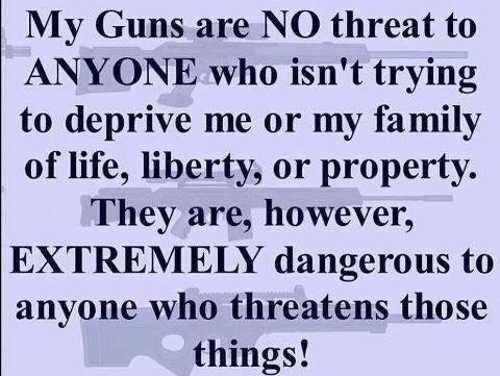 my guns no threat to you unless trying to deprive me of life liberty or property