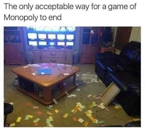 only acceptable way for a game of monopoly to end
