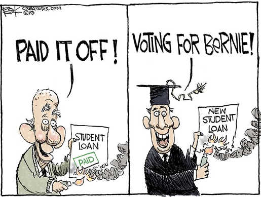 paid off student loan voting for bernie new student loan