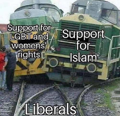 train crashing liberals support for lgbt and islam